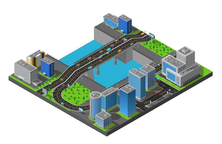 Isometric City Bridge Composition Poster