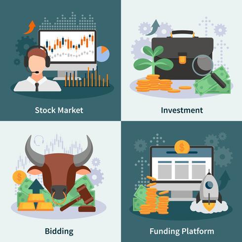 Inversión y comercio 2x2 concepto de diseño vector