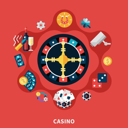 Casino Roulette Icons Round Composition