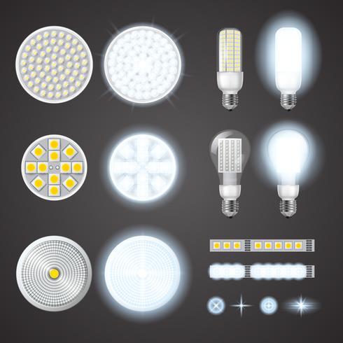 Lâmpadas LED e conjunto de efeitos de luzes vetor