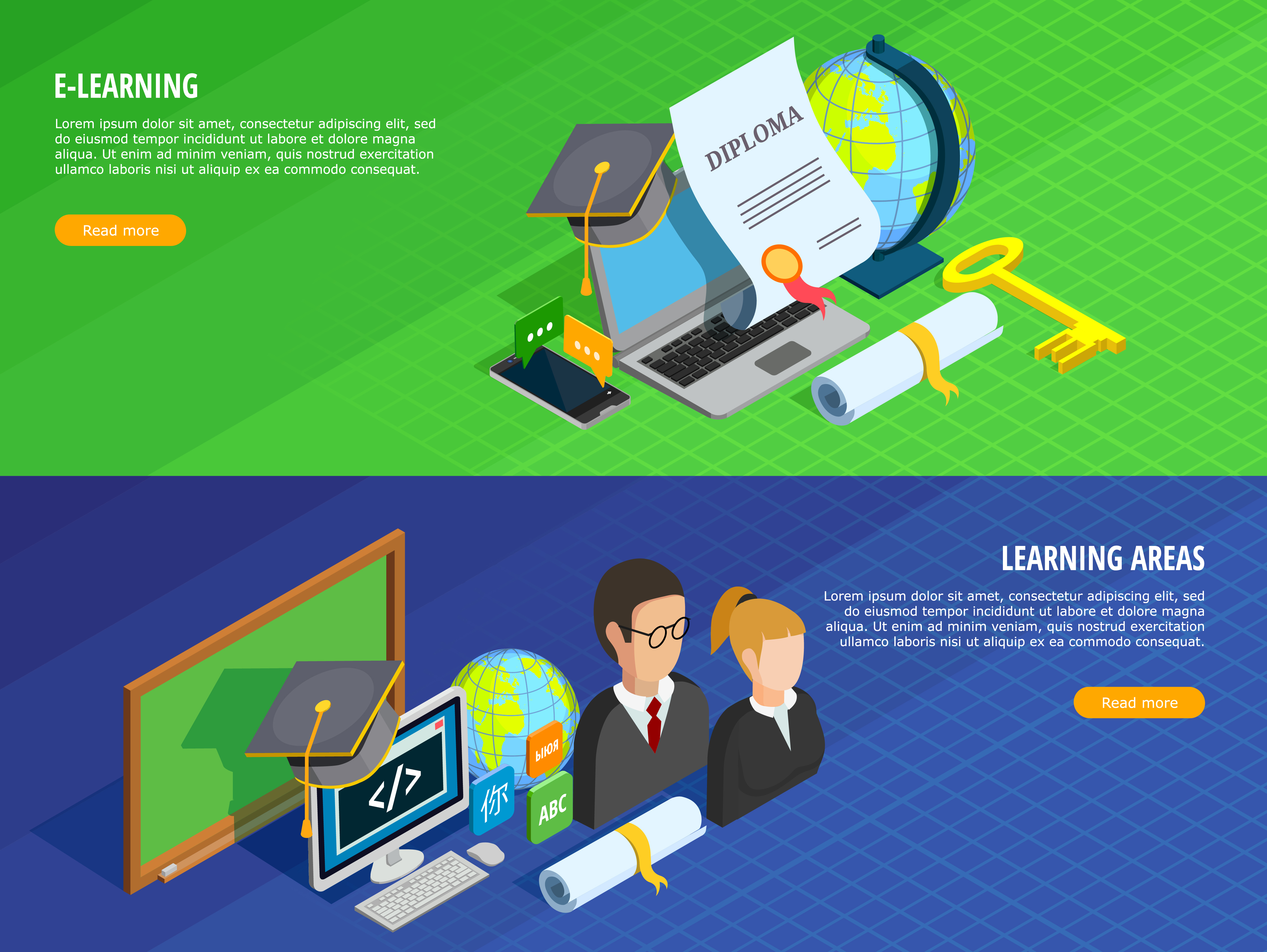 E Learning Banners Set Download Free Vectors Clipart Graphics Vector Art