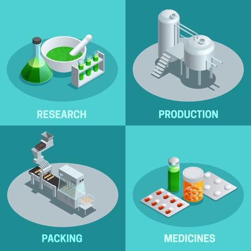 Isometric 2x2 Compositions Pharmaceutical Production vector