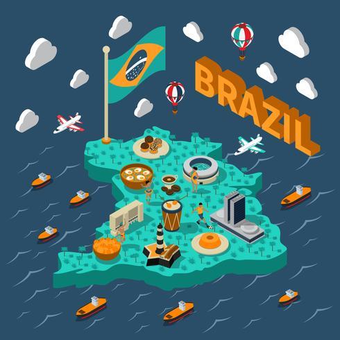 Brazil Isometric Map vector