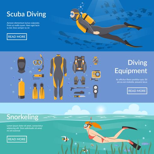 Diving And Snorkeling Horizontal Banners vector