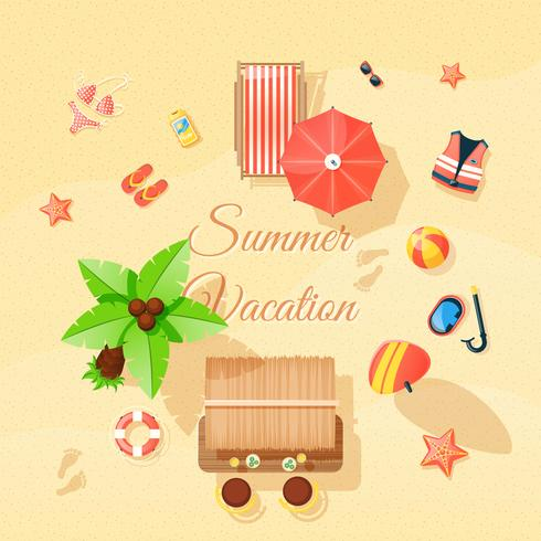 Beach Elements Set Top View Poster  vector