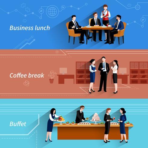 Business lunch platt banners set