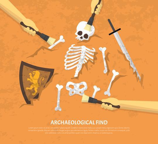 Sitio arqueológico desenterrado encuentra ilustración plana vector
