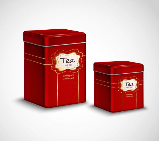 Te Tins Red Metal Containers Set