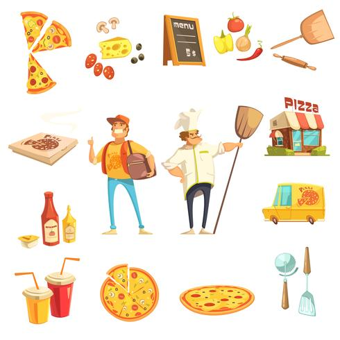 Pizza Making Decorative Icons Set vector