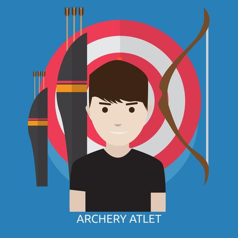 Disegno dell'illustrazione concettuale dell'atleta di tiro con l'arco