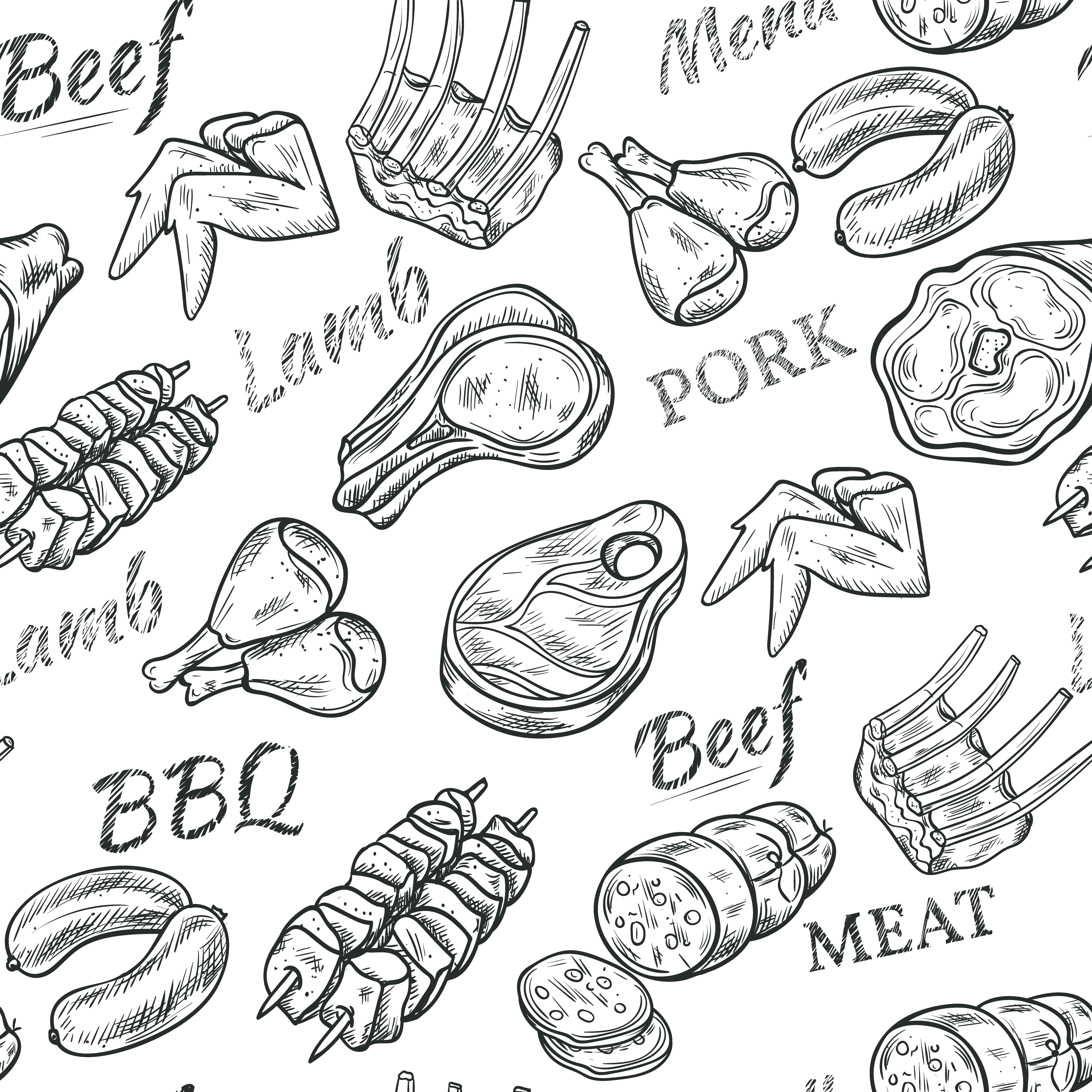 Meat Sketch Seamless Pattern - Download Free Vector Art ...