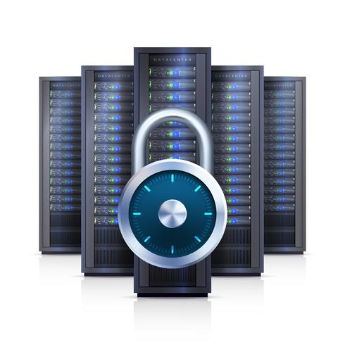 Server Rack Lock Realistic Isolated Illustration vector