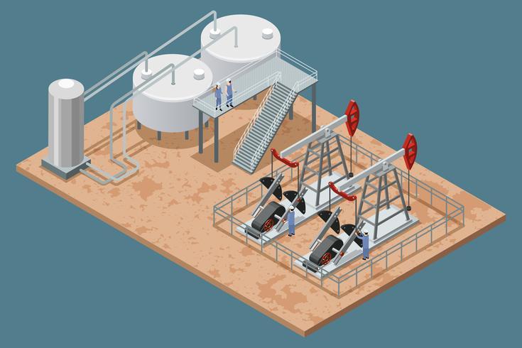 Cartel isométrico de instalaciones de producción de petróleo vector