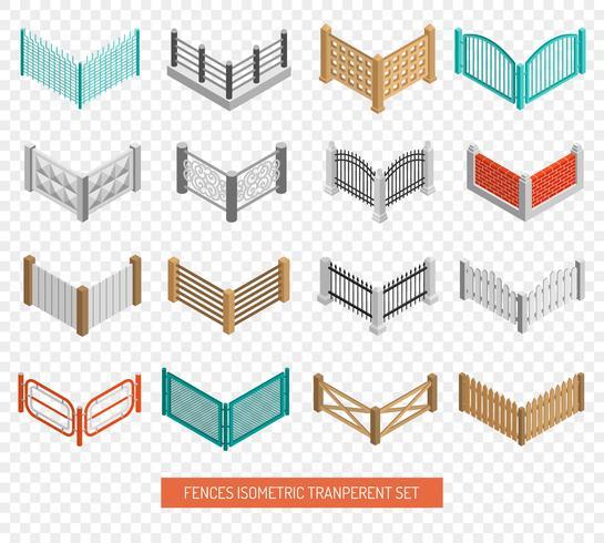 Clôture Types Icônes Isométrique Transparent Set