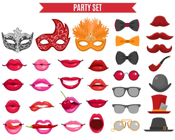 Party Icons Set In Retro Style vector