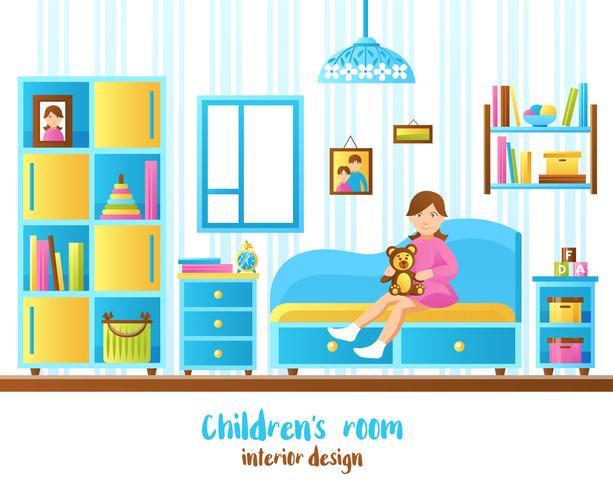 Baby-Raum-Innenvektor-Illustration