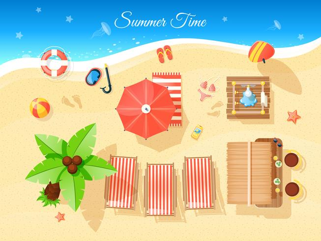 Summer Time Top View Illustration