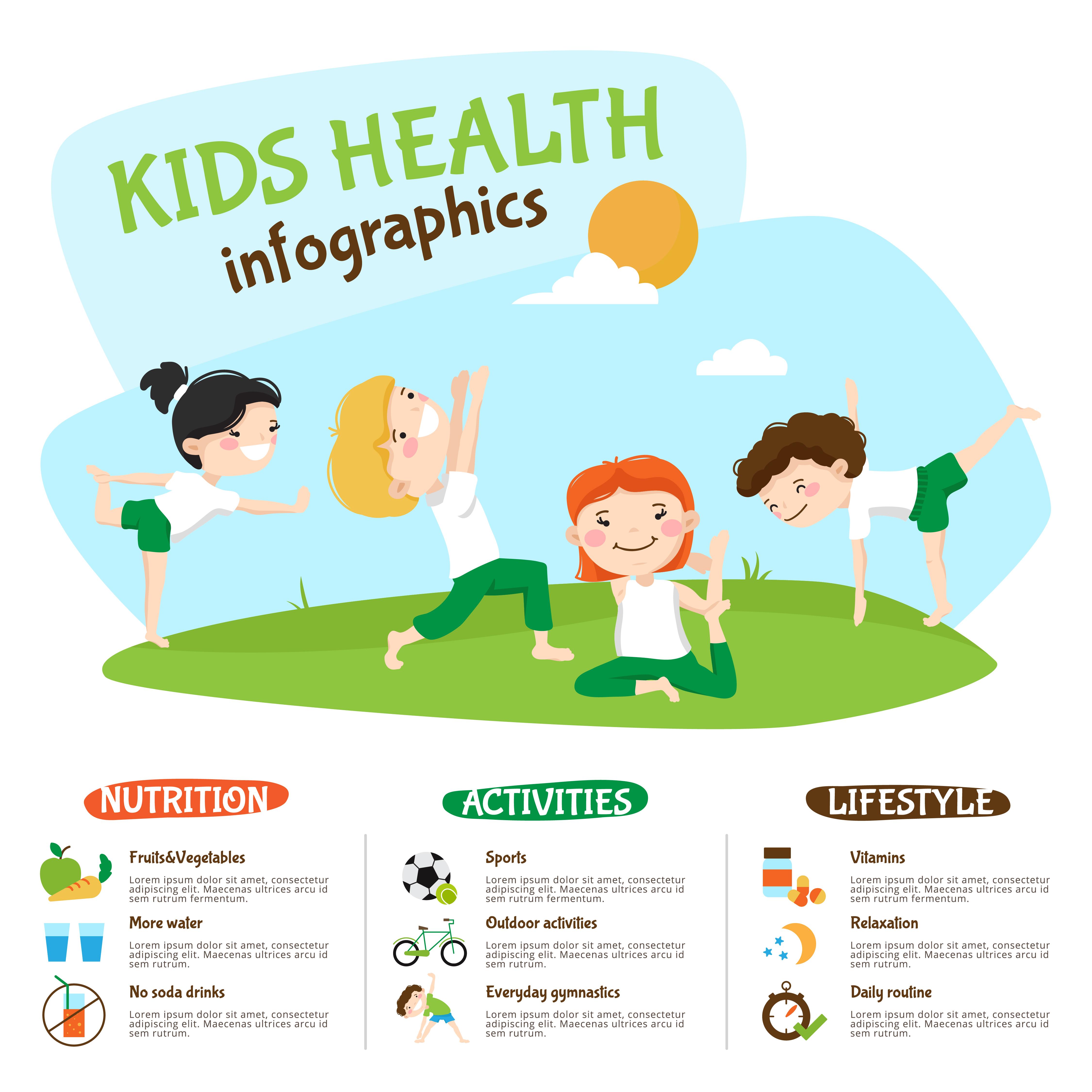 Kids Healthy Lifestyle Yoga Inforgrahic Poster Download Free Vectors Clipart Graphics Vector Art