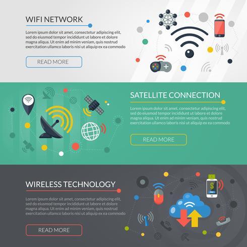 Wireless Technology 3 Horizontal Banners Set vector