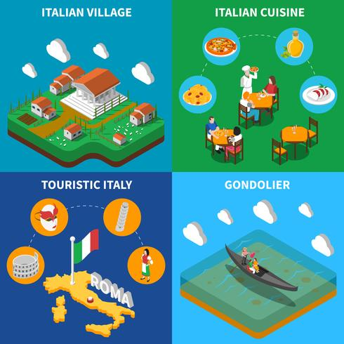Italië Reizen 4 isometrisch pictogrammen plein vector
