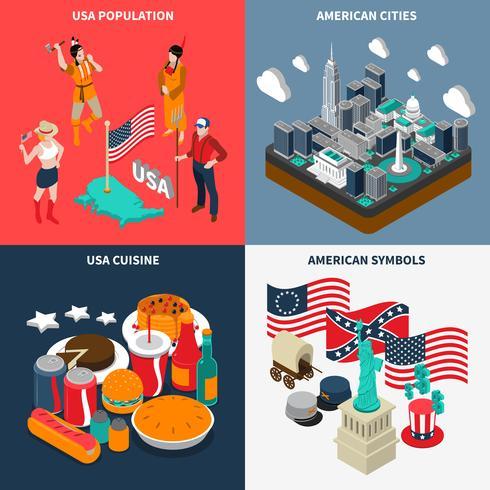 Set di icone di concetto turistico USA