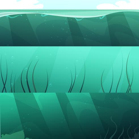 Conjunto de Banners horizontales de agua verde océano vector