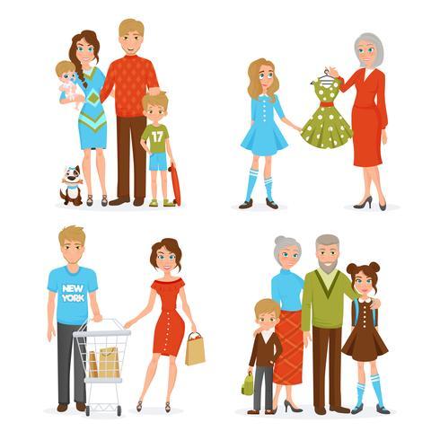 Conjunto de ícones grandes da família vetor