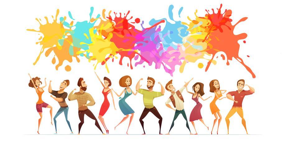Bandiera colorata del fumetto dell'insegna ballante della gente