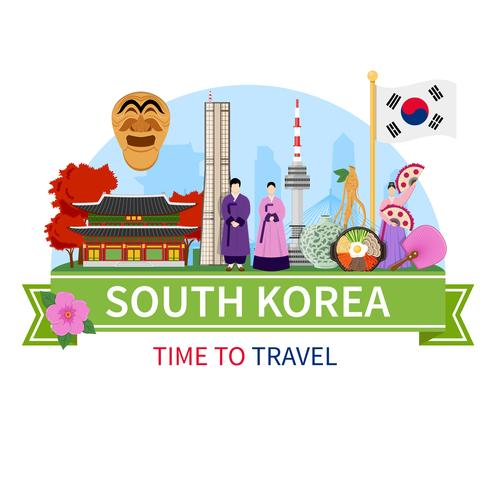 Korea Travel Composition Flat Poster