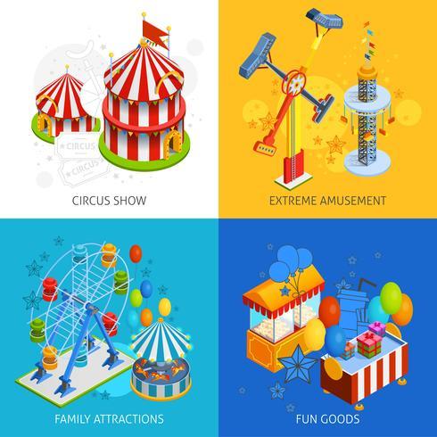 Concept de design isométrique du parc d'attractions 2x2