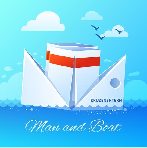 Cartaz de ícone plana de barco de papel flutuante