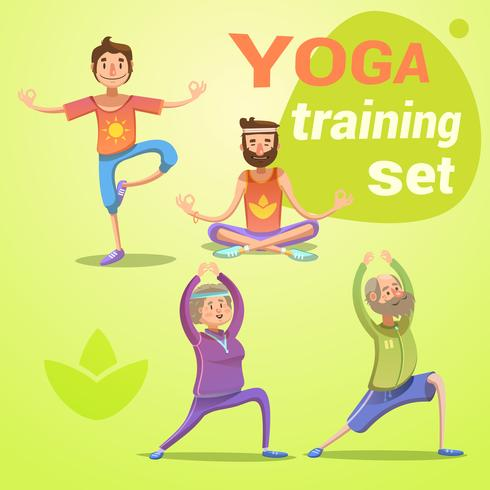 Conjunto de dibujos animados retro de yoga
