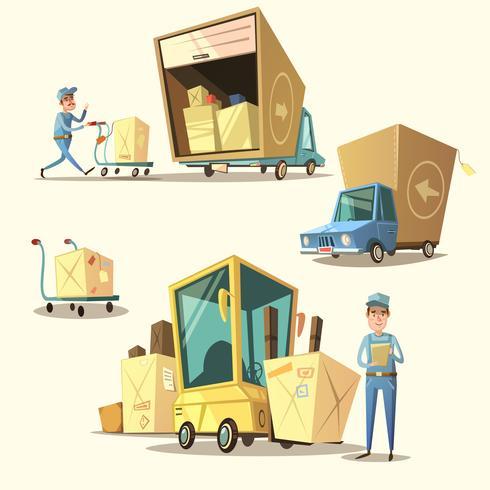 Warehouse retro cartoon set vector