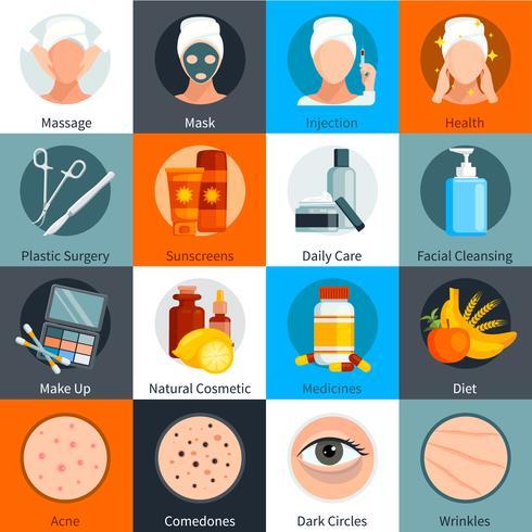 Cuidado de la piel plana conjunto de iconos de colores vector