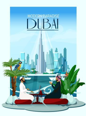Poster da cidade de Dubai com o Burj Khalifa e arranha-céus vetor