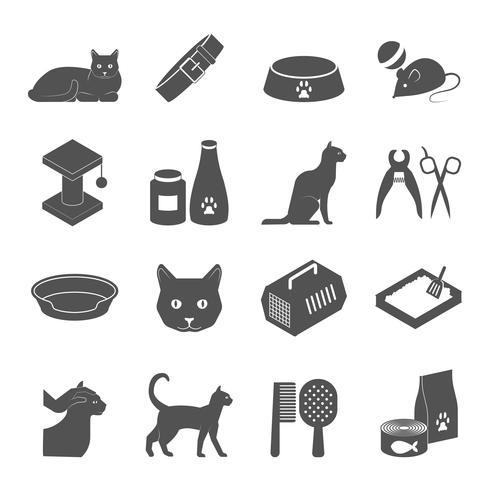 Healthy indoor cat black icons set vector