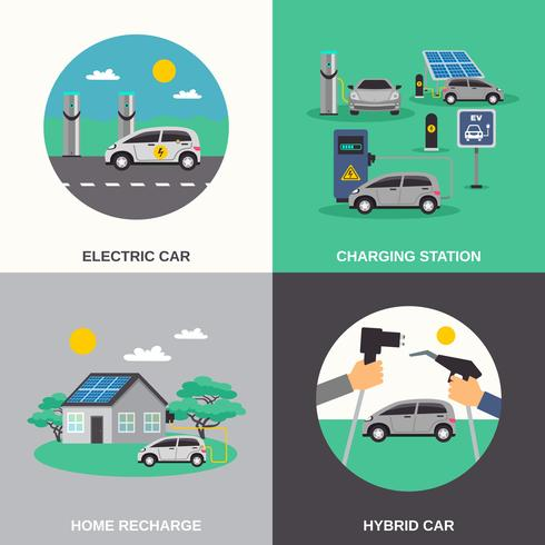 Electric Car 4 Flat Icons Square  vector