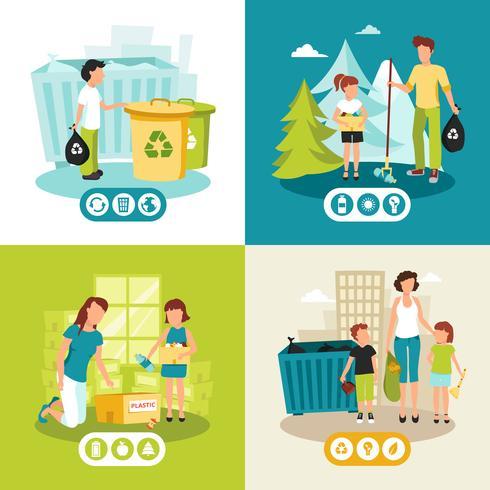 Reciclagem de lixo 4 ícones quadrados plana