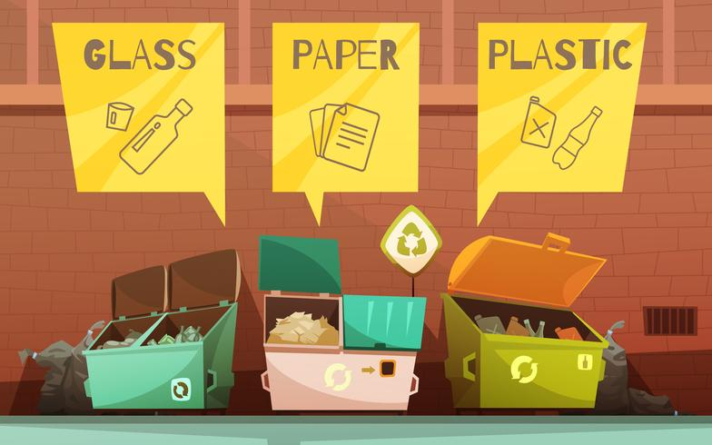 Conjunto de iconos de dibujos animados de clasificación de residuos de basura vector