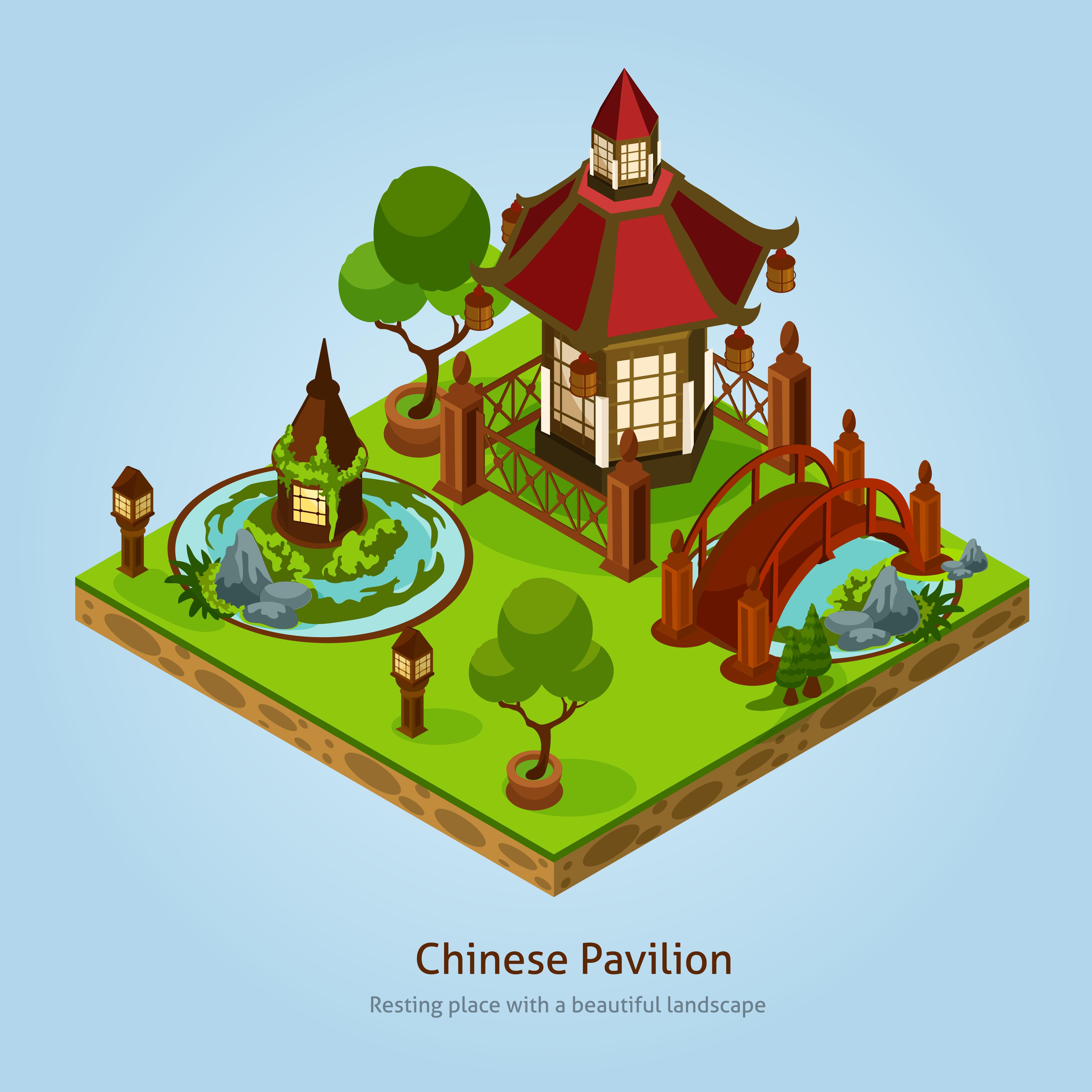 Chinese Pavilion Landscape Design Concept Download Free Vectors