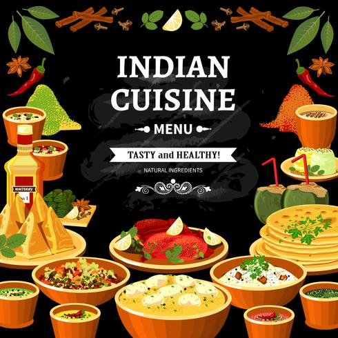 Indian Cuisine Menu Black Board Poster  vector