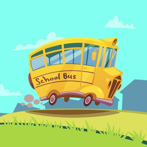 Autobús escolar retro vector