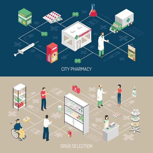 Pharmacie 2 bannières isométriques horizontales