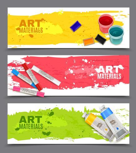 Konstnärlig Horisontell Banners Set vektor