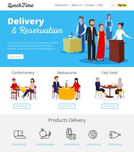 Restaurant Service Reserveringen Flat infographic Banners