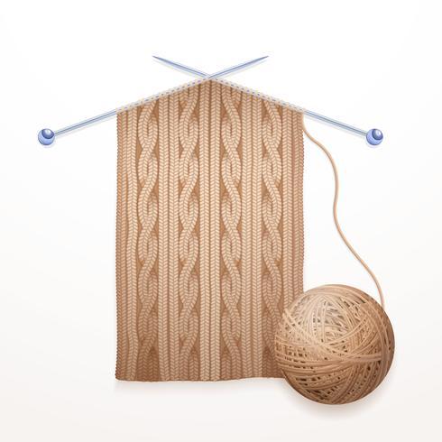 Scarf Knitting Process Flat Pictogram Illustration