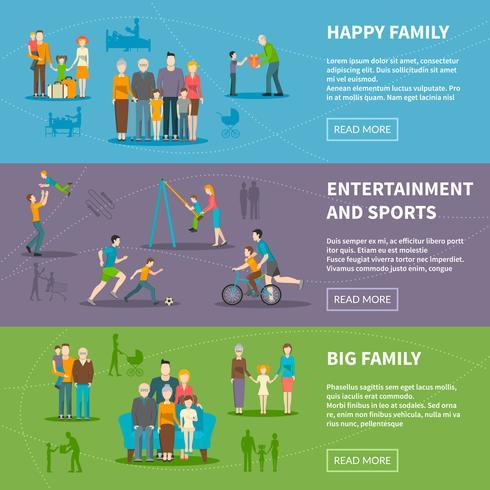 Banners planos de familia felices vector