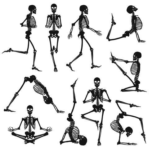 Fondo de esqueletos humanos negros vector