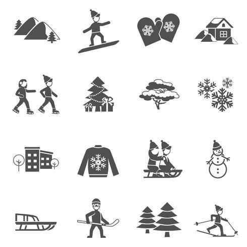 Vinter Svart Ikoner Set