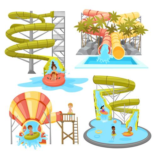 Conjunto Aquapark colorido vetor